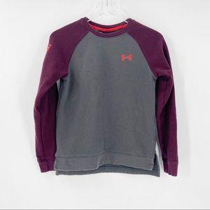 UNDER ARMOUR Boys Large Sweatshirt Gray Maroon Red